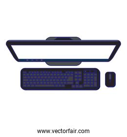 desk computer with keyboard and mouse topview blue lines