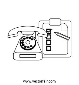 Checklist clipboard and pencil with telephone symbol in black and white