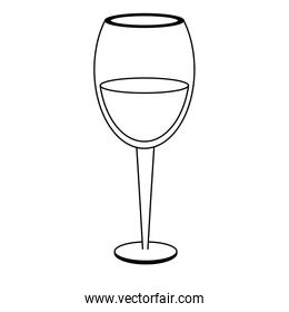 Wine cup drink isolated black and white