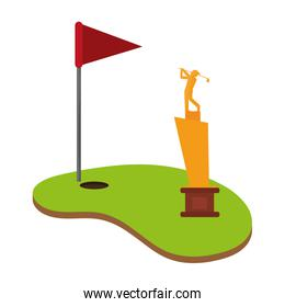 Golf camp with flag and cup