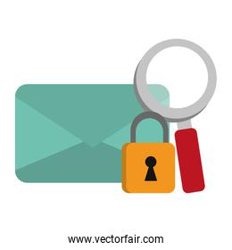 email envelope with padlock and magnifying glass symbols
