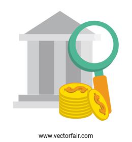 bank building with magnifying glass and coins