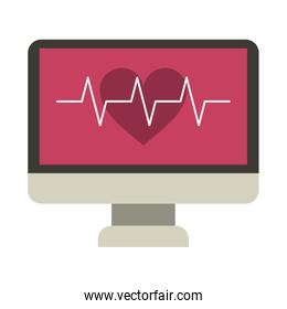 computer with heartbeat symbol