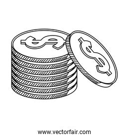 money coins stacked symbol in black and white
