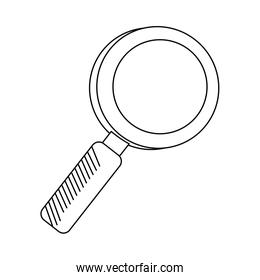 Magnifying glass symbol isolated in black and white
