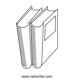Books stacked education symbol in black and white