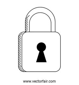 Padlock security symbol isolated in black and white
