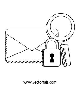 email envelope with padlock and magnifying glass symbols in black and white