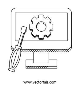 technical support computer with tools line style icon