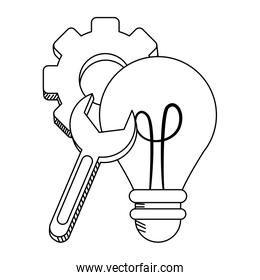 Bulb light gear and wrench in black and white