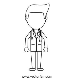 doctor avatar cartoon in black and white