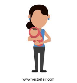single mom with baby in arms