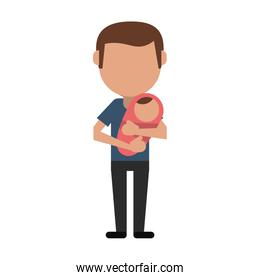 single father with baby in arms over white
