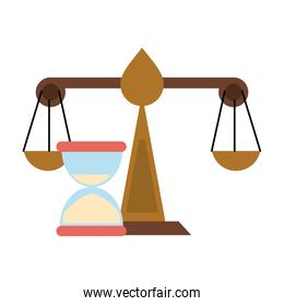 Justice balance and hourglass symbol