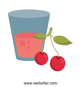 Cherry juice cup with fruit