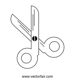 scissors utensil symbol isolated in black and white