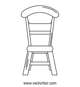 wooden chair dinning room isolated in black and white