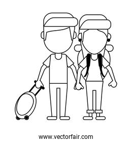 Couple of tourists avatar cartoon in black and white