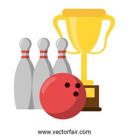 Trophy cup with pins and ball sport cartoon