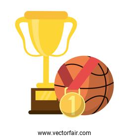 Basketball trophy with ball and medal
