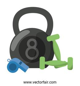Kettlebell wwith dumbbells and whistle