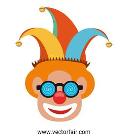 Clown face with glasses and hat cartoon