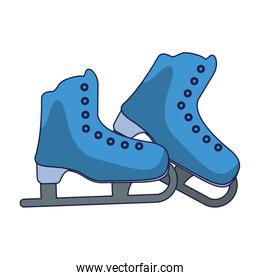 Ice skates boots equipment blue lines