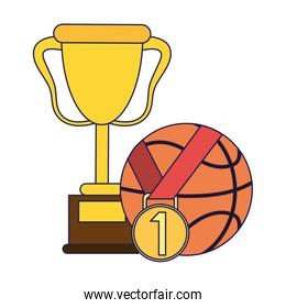 Basketball trophy with ball and medal blue lines