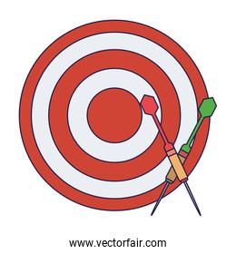 Dartboard with bow arrows blue lines