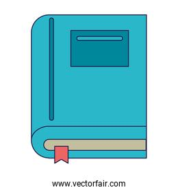 Book education symbol isolated blue lines