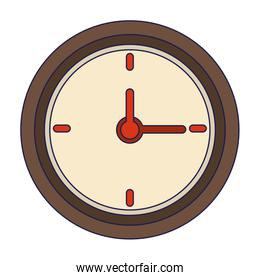 Wall clock isolated symbol blue lines