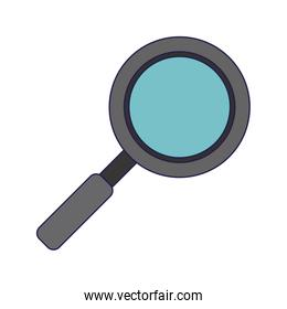Magnifying glass symbol blue lines