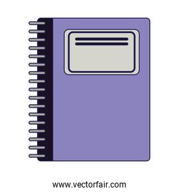 School notebook utensil isolated blue lines