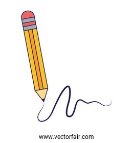 Pencil writing isolated cartoon blue lines
