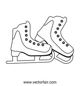 Ice skates boots equipment in black and white