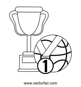 Basketball trophy with ball and medal in black and white