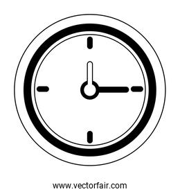 Wall clock isolated symbol in black and white