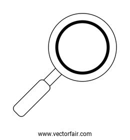 Magnifying glass symbol in black and white