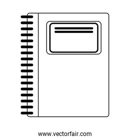 School notebook utensil isolated in black and white