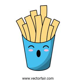 French fries box kawaii style icon