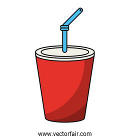 Soda cup with straw cartoon