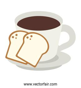 Coffee cup and breads cartoon