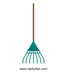 Rake garden tool isolated