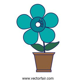 Flower in pot gardening cartoon blue lines