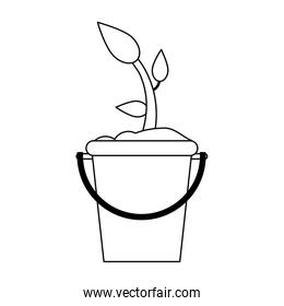 Plant in bucket symbol black and white