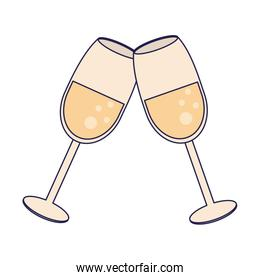 Champagne cups toast cartoon blue lines