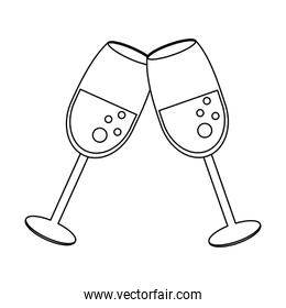 Champagne cups toast cartoon in black and white