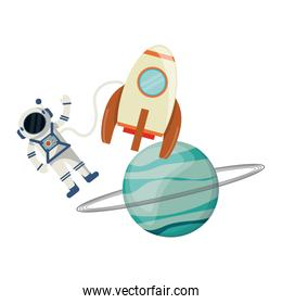 Astronaut and spaceship rocket with planet