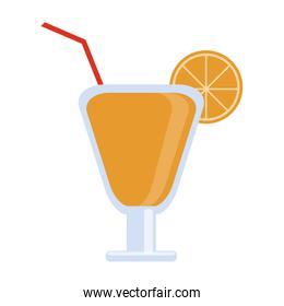 Cocktail with lemon and straw cup