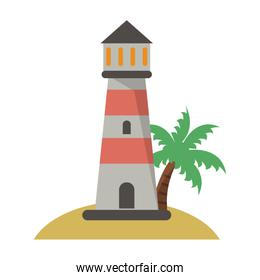 Lighthouse in beach cartoon